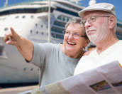 ouder koppel op cruisevakantie